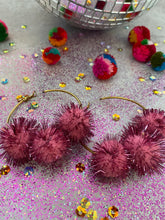 Load image into Gallery viewer, Party Pom Pom Hoops- Sparkle Poms