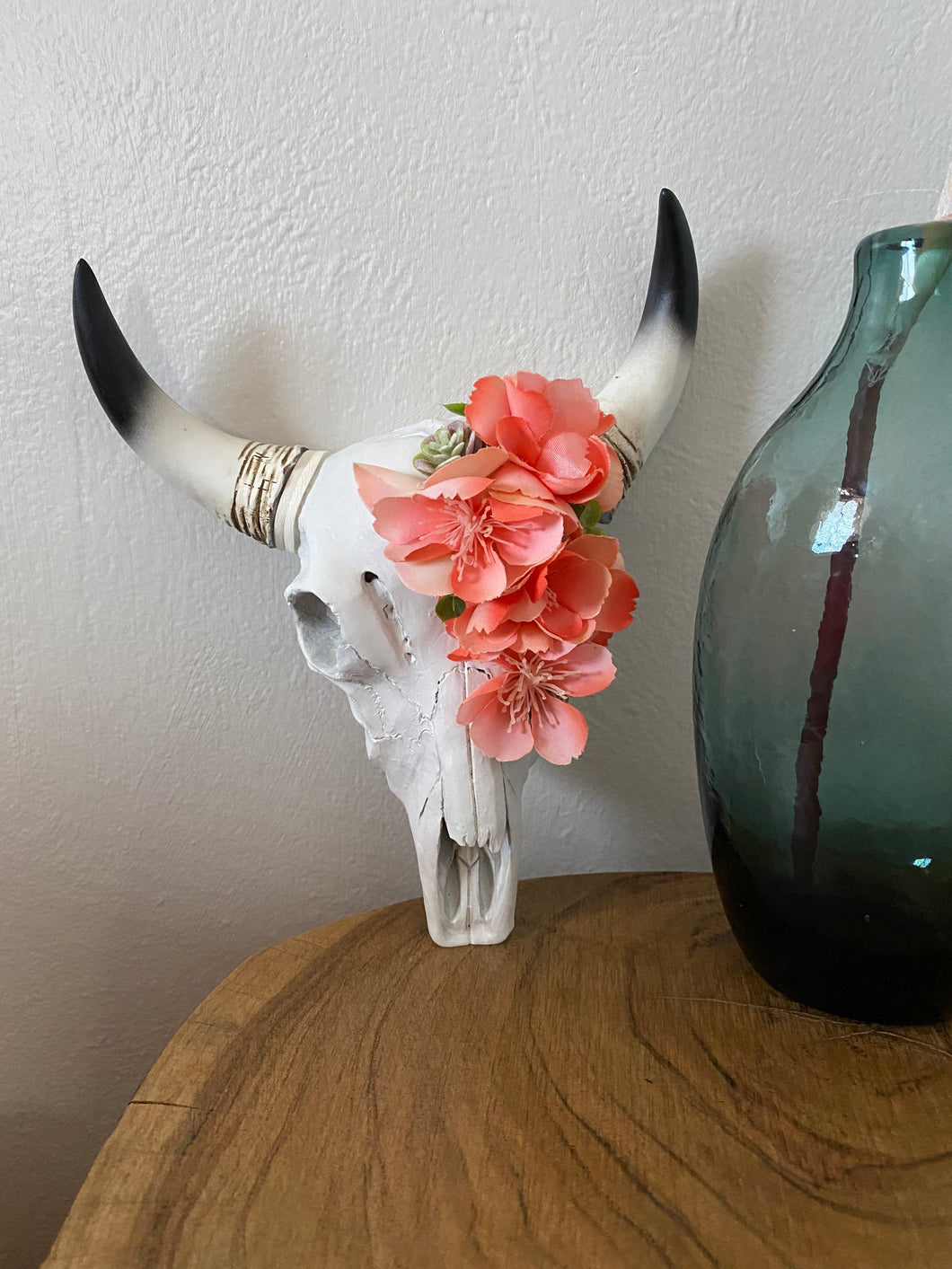 Faux Mini Cow Skull Home Decor- Pink floral