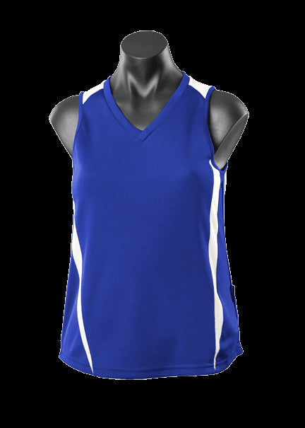 Ladies Eureka Singlet Royal/White