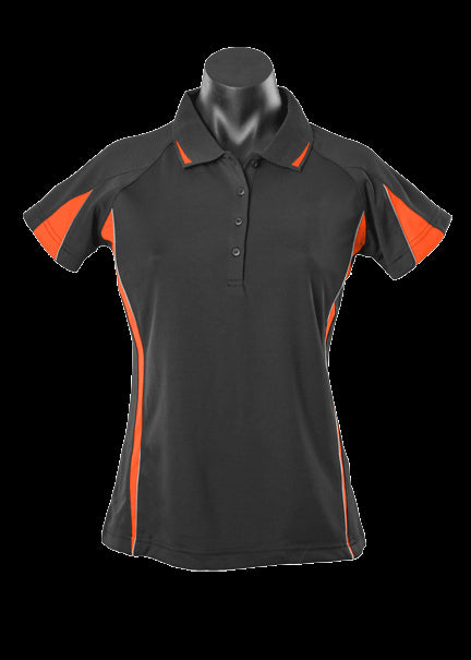 Ladies Eureka Polo Black/Orange