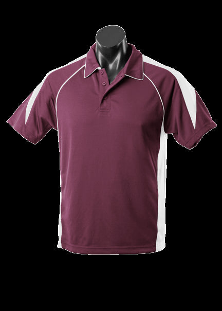 Mens Premier Polo Maroon/White