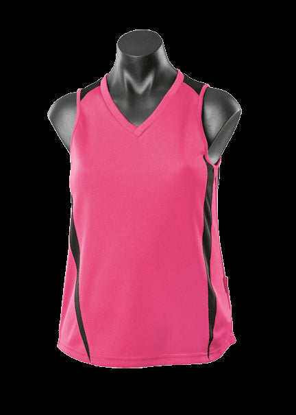 Ladies Eureka Singlet Hot Pink/Black