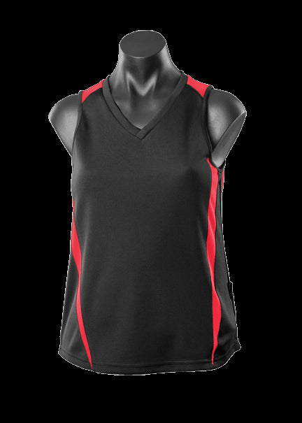 Ladies Eureka Singlet Black/Red