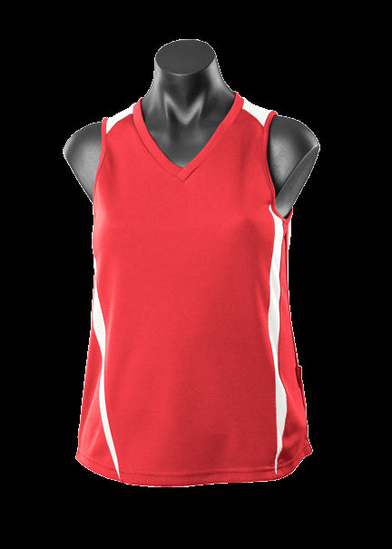 Ladies Eureka Singlet Red/White