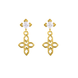 A Dusting of Jewels - Baroque Cross Earrings | Gold