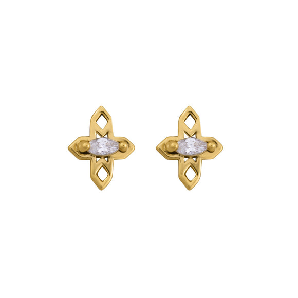 A Dusting of Jewels - Tiny Cross Studs | Gold
