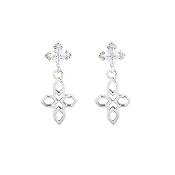 A Dusting of Jewels - Baroque Cross Earrings | Silver