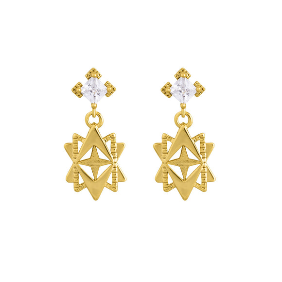 A Dusting of Jewels - Baroque Star Earrings | Gold