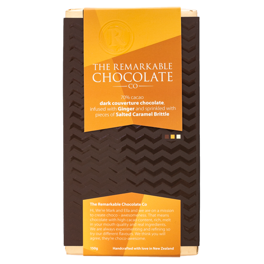 70% Dark Chocolate, Ginger and Salted Caramel