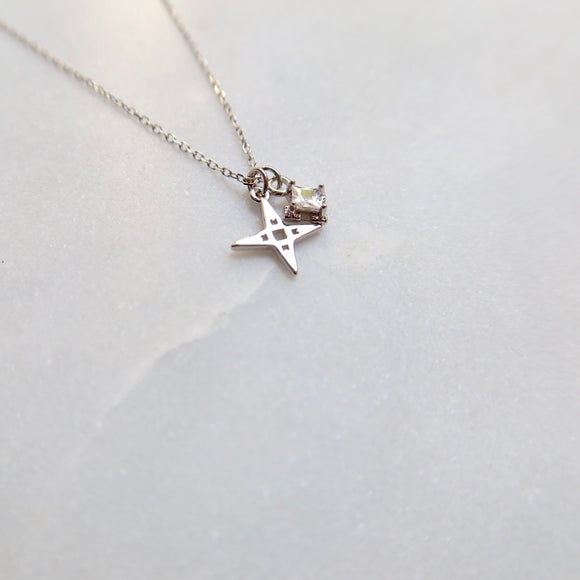 A Dusting of Jewels - Tiny Star Necklace with Embellishment | Silver