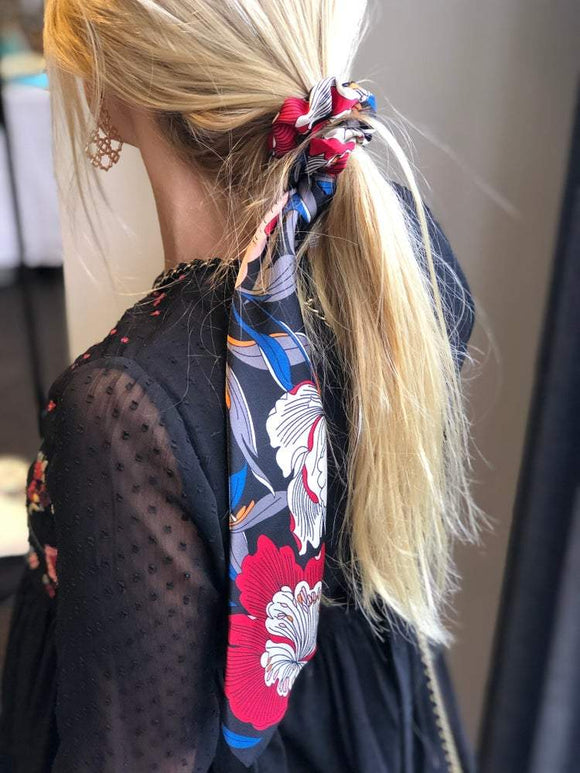Scrunchie Scarf | Black Floral by Queen Of The Foxes shop online now