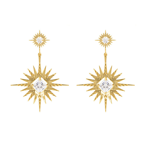 A Dusting of Jewels - Solar Earrings | Gold