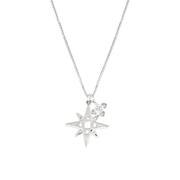 A Dusting of Jewels - Single Star Necklace with Embellishment | Silver -SOLD OUT!