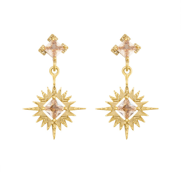 A Dusting of Jewels - Starburst Earrings | Gold