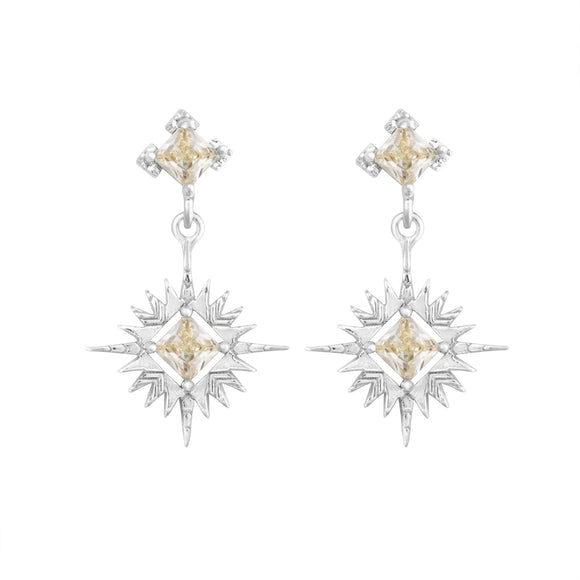 A Dusting of Jewels - Starburst Earrings | Silver