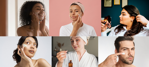 Models as ambassadors for a skincare company applying cream. Many ethnicities and backgrounds. Natural skincare.