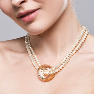 Crystal Cirque Pendant & Pearl Necklace – Cream Pearl