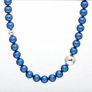 Shine Pearl Necklace – Electric Blue & Silver