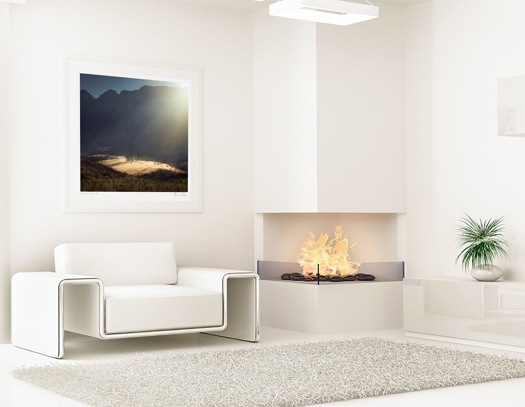 Landscape photograph of a mountain in a beautiful modern interior.