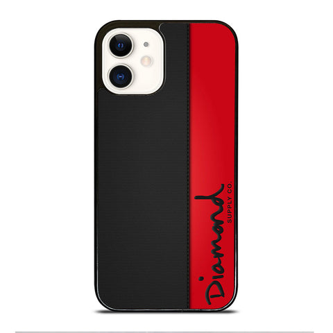 DIAMOND SUPPLY CO RED LEATHER iPhone 12 Case Cover