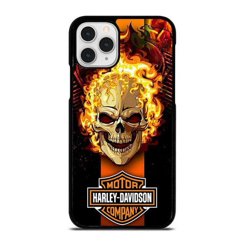 HARLEY DAVIDSON SKULL FIRE-iphone-11-pro-case-cover
