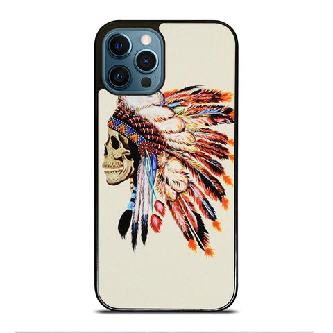 INDIAN FEATHER SKULL iPhone Case Cover