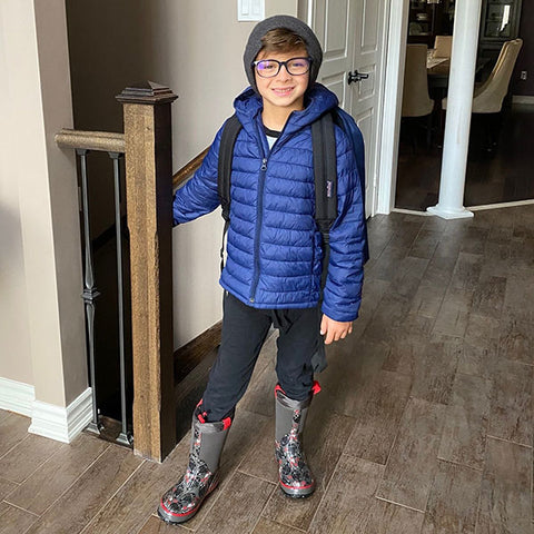 Adrian, 7 feeling and loooking cool in the Skater Neoprene Boot