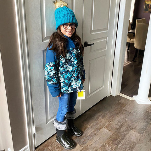 Abigail, 8 showing us how versatile our Snuggle Neoprene Boot is
