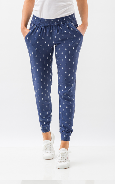 Oscar & Ethel | Pitch Blue And White Pants With Anchor Print