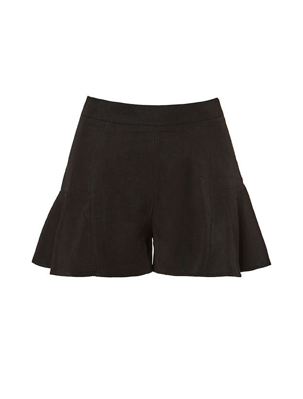 Ruffles Black Shorts