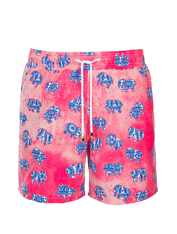 Pink Watercolor Blue Ethnic Elephant