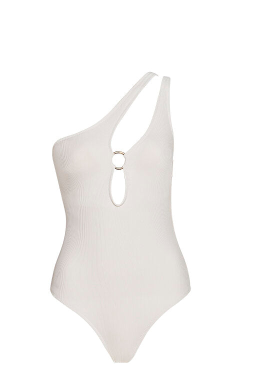 Capri White One Shoulder Swimsuit