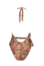 Load image into Gallery viewer, Animal Print Halter Wrap Swimsuit