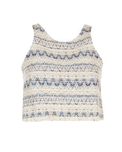 Load image into Gallery viewer, Blue Tweed Crop Top