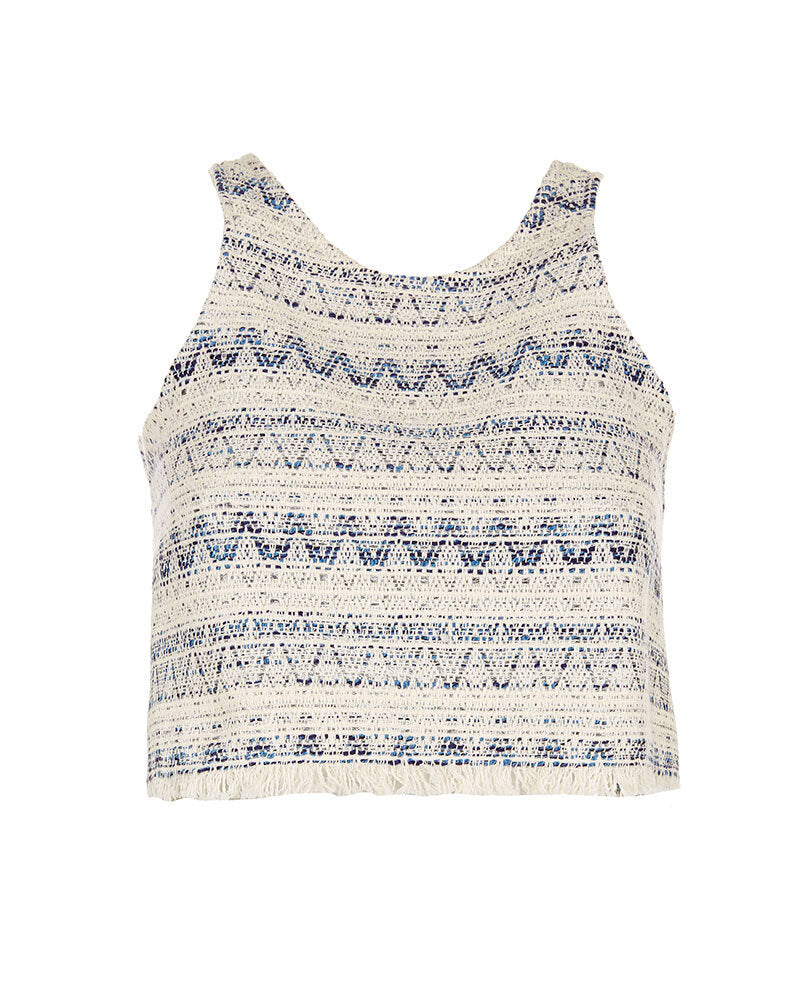 Blue Tweed Crop Top