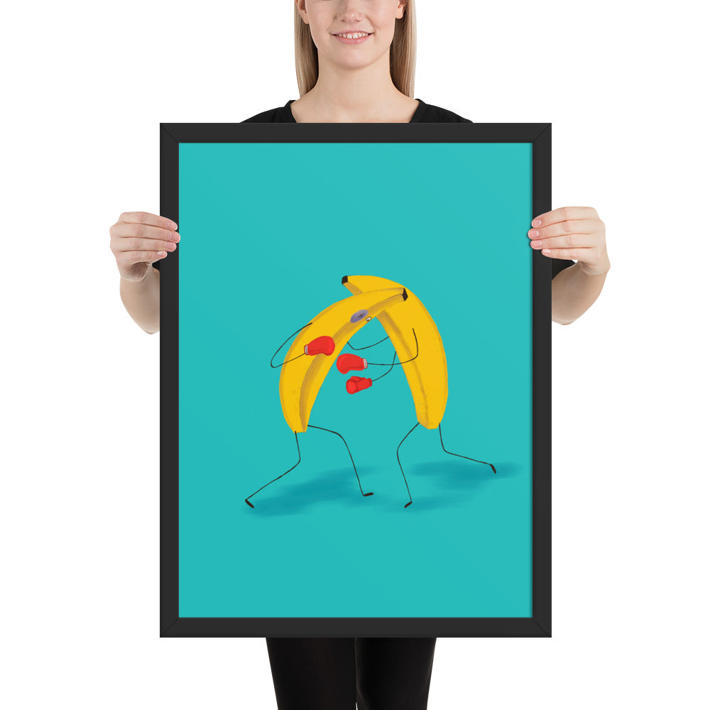 Banana Boxing Framed poster - Freshiconic art, artists products, printed art, canvas, marcel art