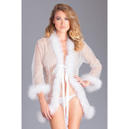 Sheer Short Length Robe With Marabou Feather Trim Packaging Box
