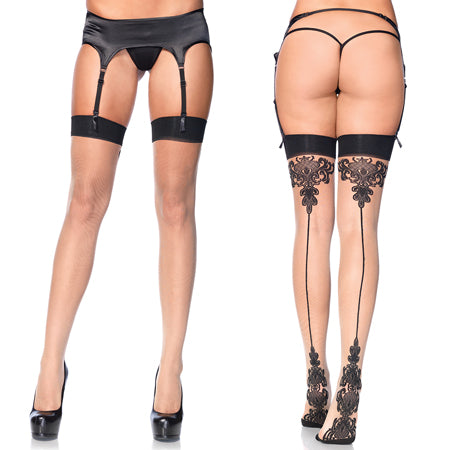 Spandex Sheer Baroque Cuban Heel Backseam Stockings O-S Nude-Black