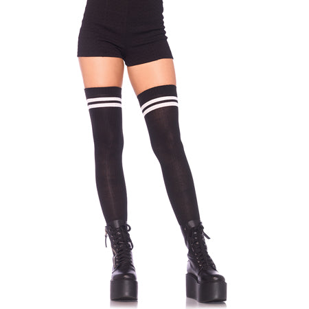 Ribbed Athletic Thigh Highs O-S Black-White