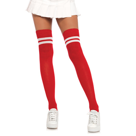 Ribbed Athletic Thigh Highs O-S Red-White