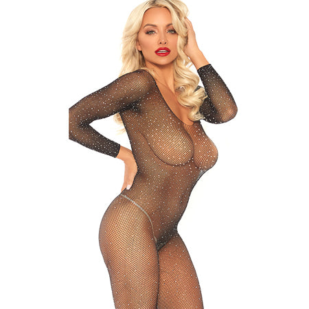 Crystalized seamless fishnet long sleeved bodystocking. Black O-S