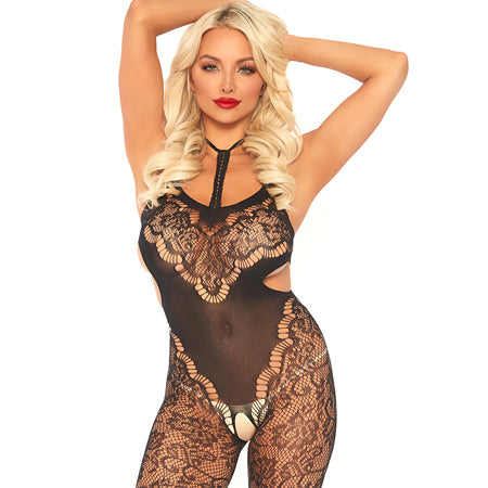 Harness halter floral lace bodystocking with side cut outs. Black O-S