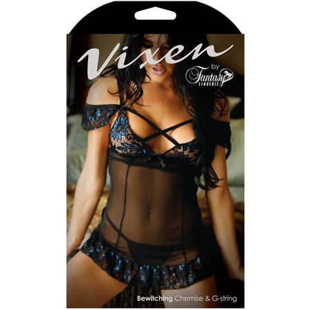 Vixen Bewitching Off Shoulder Cage Chemise & Matching G-String Black-Blue QUEEN
