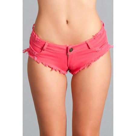 Sexy Cut Off Low Waist Denim Booty Shorts Hot Pink Small Packaging Hanging