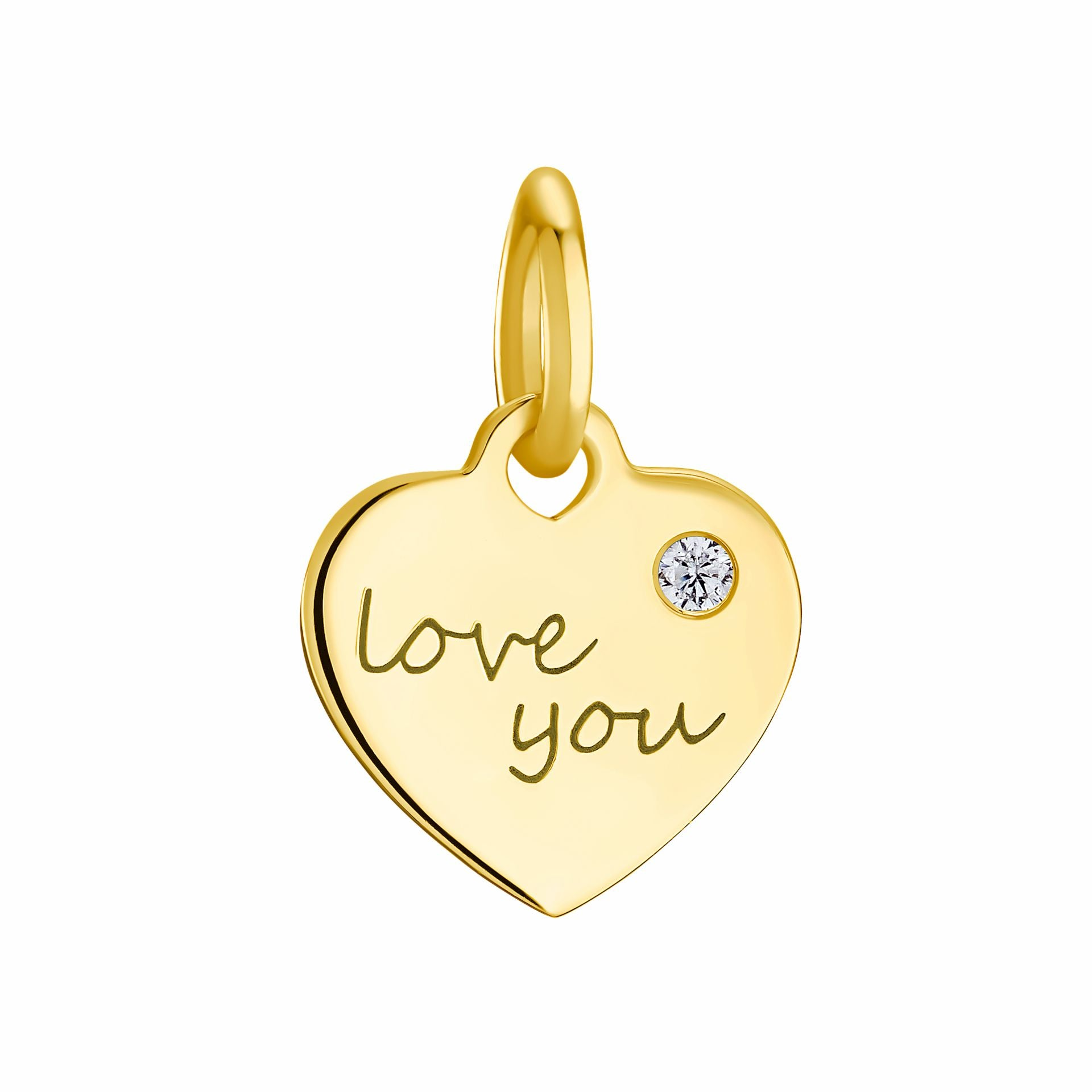 LOVE YOU pendant, sterling silver 925 gold plated, heart with zirconia