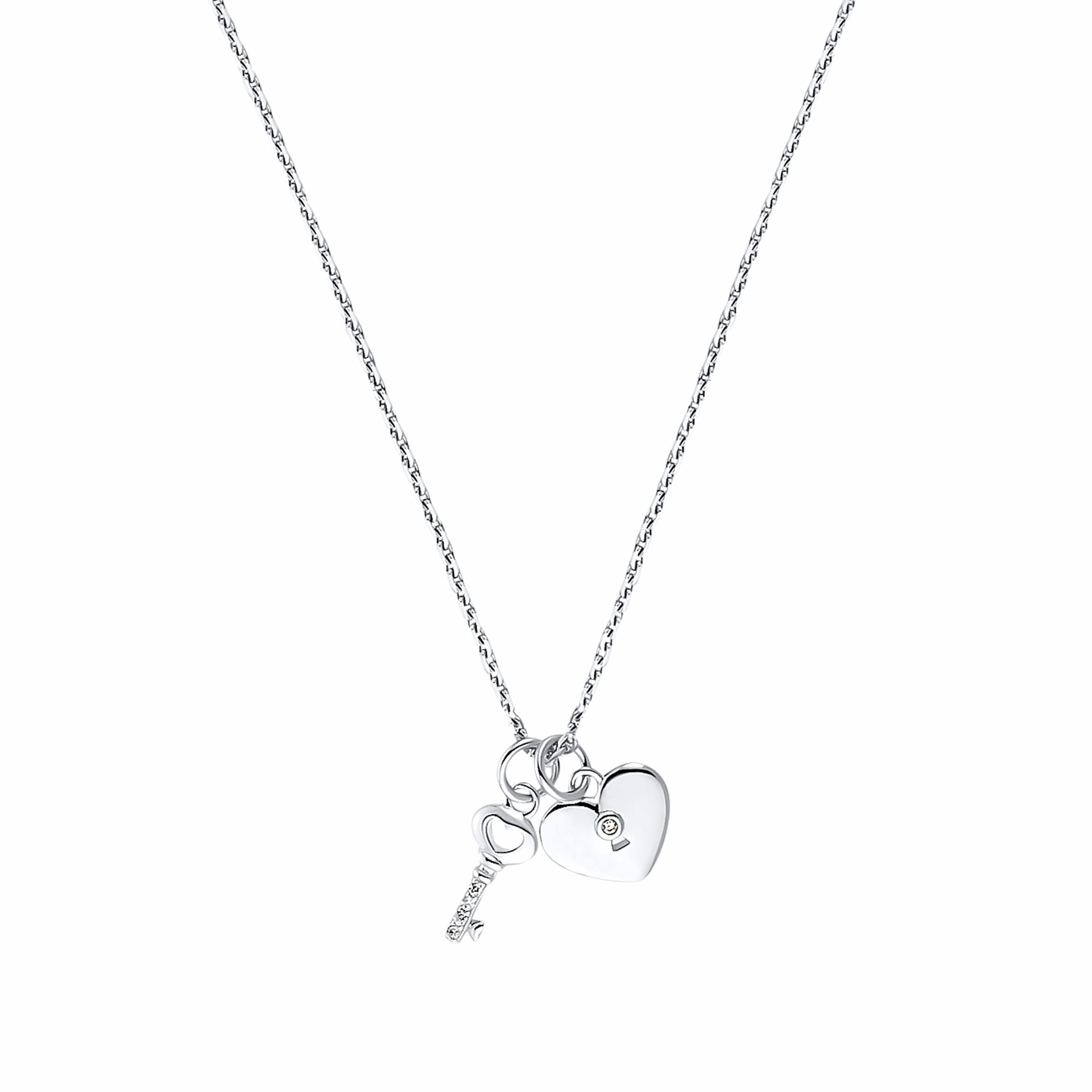 KEY & HEART necklace with pendant, sterling silver 925