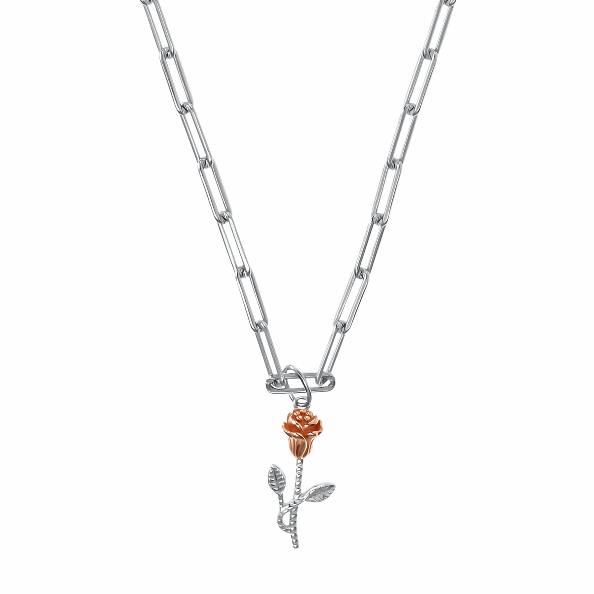 THE ROSE necklace with pendant, choker, sterling silver 925, rose bicolor