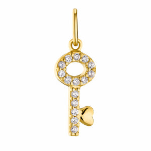 GOLDEN KEY pendant, sterling silver 925 gold plated, key with zirconia