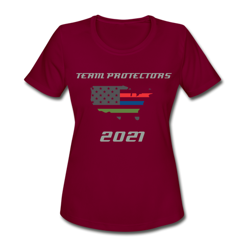 TEAM PROTECTORS Women's Moisture Wicking Performance T-Shirt - burgundy