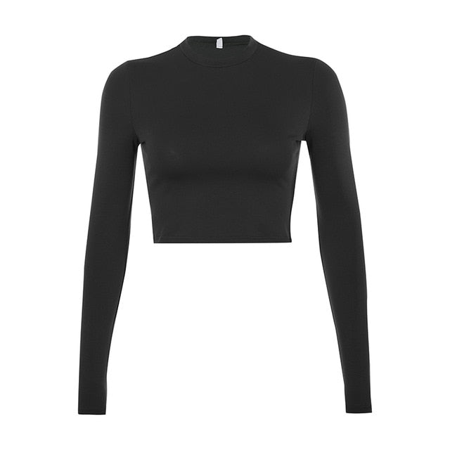 Solid Basic Long Sleeve Crop Top